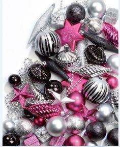PINK BLACK CHRISMTAS TRE | 50 CHRISTMAS TREE DECORATION BAUBLES & ORNAMENTS FESTIVE BLACK & PINK ...