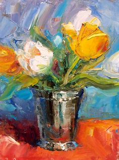 Tulips in Silver original fine art by Julie Ford Oliver