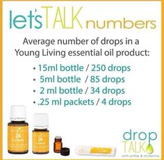 Young Living Essential Oils // how many drops in each bottle #youngliving…