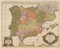 1696 L'Espagne Divisee en tous ses Royaumes, Principautes, &c. a l'Usage de Monseigneur le Duc de Bourgogne…