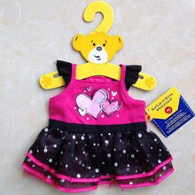 """Free Shipping! Adorable hearts dress / teddy bear clothes / skirt to fit 16"""" (40cm) Build a Bear Duffy Monchhichi(China (Mainland))"""