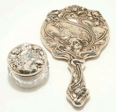 Wm. Kerr Sterling Art Nouveau Hand Mirror & Dresser Jar