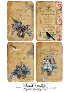 French Vintage  3x5  Printable  Digital by CountryAtHeart2008, $4.99