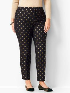 Shop Talbots for modern classic women's styles. You'll be a standout in our Tailored Hampshire Ankle Pants - Golden Dots - only at Talbots! Salwar Designs, Kurti Neck Designs, Kurti Designs Party Wear, Blouse Designs, Neckline Designs, Formal Pants Women, Pants For Women, Pants Pattern, Ankle Pants