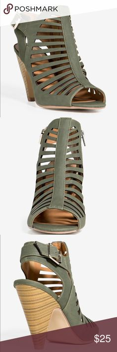 """👠NEW! Shaky Mine or Yours Bootie👠 New with Tags and Box  🌺Exude a cool kind of sex appeal in these flirty caged heel. Baby soft faux nubuck body with cutout upper. Open toe and heel. Decorative buckle and ankle plus side zip closure. Cone heel. Cushioned insole. Color: Olive 🍁Measures approx. 4.5"""" heel height 🍁All Man Made Material  🍁Made in China  ✔️All Reasonable Offers Accepted ✔️Bundled Discounts❗️💰 ❌NO LOWBALLING 🌹Thank you for stopping by❗️Make an offer❗️👍 D Shoes Ankle Boots…"""
