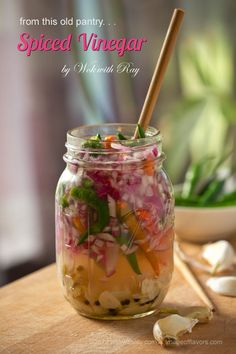 Spiced Vinegar – Sukang Maanghang  INGREDIENTS:    1.1 1/2 cup Cane Vinegar   2. 2 teaspoon salt   3. 15 cloves garlic  (roast)  4. 25 to 30 Thai Chili Peppers   5. 1 teaspoon whole black pepper   6. 1 small red onion   7. 1 tablespoon oil