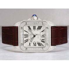 Original #Cartier santos mens watch 10 Full swarovski #diamonds Stainless Steel leather strap #wholesale