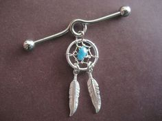 Industrial Piercing Barbell Dream Catcher Feather by Azeetadesigns, $17.20...WHY DID I LET MY INDUSTRIAL PEIRCING CLOSE UP?? WHYYYYYY lol