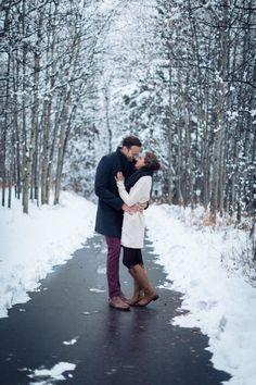 #engagement #winter #snow @weddingchicks