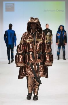 Kingston University student Johnson Deng's collection on the catwalk at Graduate Fashion week 2015. Find out more about studying Fashion at KU: http://www.kingston.ac.uk/undergraduate-course/fashion/?utm_source=Pinterest&utm_medium=Social&utm_campaign=KUPinterest&utm_content=gradfashweekSept2015