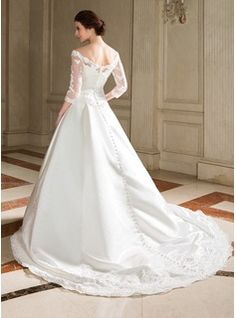 A-Line/Princess Off-the-Shoulder Chapel Train Satin Wedding Dress With Lace Beading Sequins (002000095) - JJsHouse