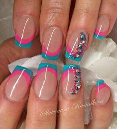 so cute! nails | art | tips | love | pink nails | blue nails