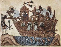 Miniature from al-Hariri's Maqamat. Found in the Collection of Academy of Sciences, Saint Petersburg. Medieval Manuscript, Illuminated Manuscript, Moorish, Renaissance Art, Any Images, Still Image, Islamic Art, Moose Art, Oriental