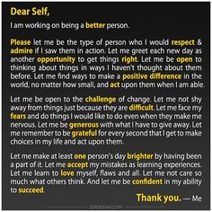 Dear Self, I am working on being a better person