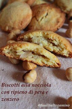 Biscotti alla nocciola con ripieno di pera e zenzero