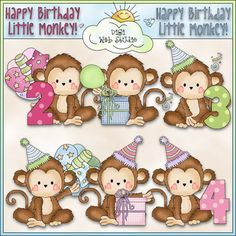 Monkey Business Birthday 1 - NE Cheryl Seslar Clip Art : Digi Web Studio, Clip Art, Printable Crafts & Digital Scrapbooking!