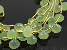 Green Chlacedony Medium Faceted Onion Drops AAA by Beadspoint, $17.99