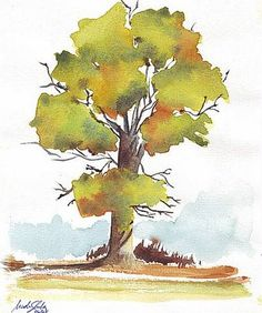 Nader Shenouda Watercolor paintings: 3 steps to draw trees wet in wet using watercolors
