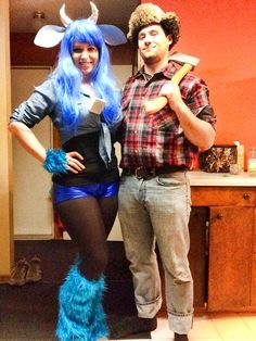 Paul Bunyan and Babe the blue ox couples Halloween costume
