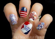 Beautiful Flag Day Patriotic Sequin Nails: This sequin design is a funky take on flag inspired nails. The different glitters add more character. With the clever galaxy nails set, you can create a great 4th of July nails look that is beautiful and unique, but totally shows some love on the Fourth of July. See the tutorial here.