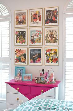 Fun gallery wall and painted dresser.