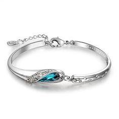 "Qianse ""Glass Slipper"" 7 Inches Bangle Bracelet Made with Blue SWAROVSKI Crystal, Fairytale Design"