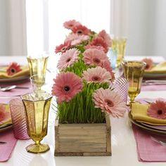 Centro de mesa de Margaritas rosas - decoracionyjardines