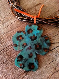 Western Chunky Turquoise Leopard Print Clay Cross