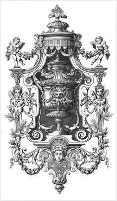 "Photo from album ""Рококо"" on Yandex. Vintage Frames, Vintage Prints, Ornament Drawing, Carving Designs, Gravure, Coat Of Arms, Arabesque, Sculpture Art, Baroque"