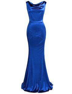 Amazon.com: JUESE Women's 50's Floor Length Sleeveless Evening Party Dress (S, Bright Blue): Clothing