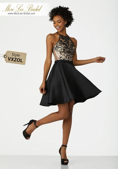 Style VXZOLBeaded Net Cocktail Dress with Larissa Satin Skirt and Criss Cross Back StrapsBeaded Net with Larissa Satin and Criss Cross Back Straps. Colors Available: Royal, Red, Black.