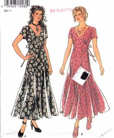 """CLEARANCE Flared Skirt Summer Dress Short Sleeve V Neckline Size 8-18 Bust 31.5-40"""" New Look 6248  Womens Sewing Pattern by Sutlerssundries on Etsy"""