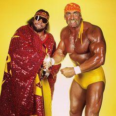 "Randy ""Macho Man"" Savage and Hulk Hogan Wrestling Stars, Wrestling Divas, Wwf Poster, Attitude Era, Wwe Wallpapers, Wrestling Superstars, Hulk Hogan, Cyndi Lauper, Wwe Wrestlers"