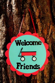 Little Red Wagon Door Sign Welcome Friends Red by PaperPartyParade, $11.00