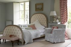 Vanessa Arbuthnott bedroom - love this bed would be great for a guest bedroom. Also loving the big windows and shutters. French Country Bedrooms, Country House Interior, Bedroom Country, Country French, Modern Country, French Style, Duck Egg Living Room, Bedroom Wall, Bedroom Decor