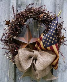 Red Burlap Bow for Memorial Day Patriotic Wreath - LoveItSoMuch.com