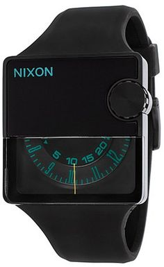 Nixon Men's Rubber Murf Black Rubber and Dial Teal Accent