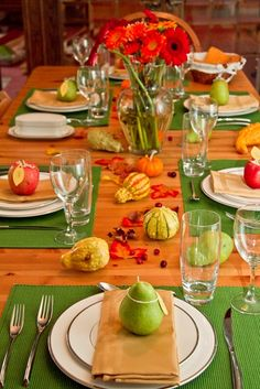 Thanksgiving Table Ideas // Cherished Bliss,,,,at christmas Florida homes are pink and lime green for a difference... for thanksgiving i see the green..but tend to,appreciate the orange more...limes tend to be, for me, more key west/island christmas.