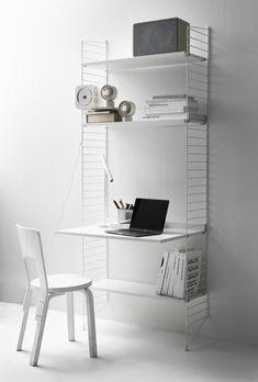 Scandinavian Shelves, Scandinavian Furniture, Scandinavian Design, White Shelves, Built In Shelves, Metal Shelves, Modular Shelving, Modern Shelving, String System