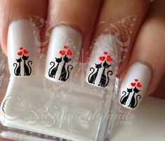 two cats in love Nail Water Decals Transfers Wraps por SWNails Cat Nail Art, Cat Nails, Love Nails, Gorgeous Nails, Nail Water Decals, Valentine Nail Art, Nail Art Stamping Plates, Nail Decorations, Trendy Nails