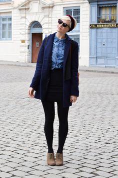 American Apparel skirt - Clarks boots - Urban Outfitters coat - denim H&M shirt
