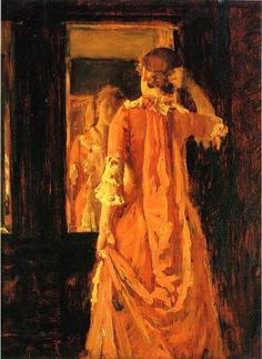 Young Woman Before a Mirror by William Merritt Chase #art