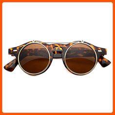 Flip up Cyber Steampunk Round Circle Retro Sunglasses (Tortoise, 43) - Sunglasses (*Amazon Partner-Link)