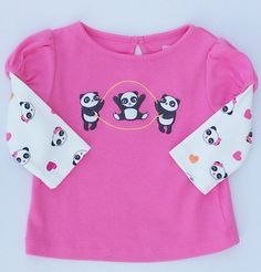 Gymboree Panda Academy Girls Pink Jumping Rope Panda Shirt Sz 3-6 Month NWT #Gymboree #DressyEveryday