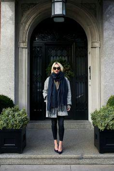 Coat(also love this grey coat).Stripe Dress worn as Top. Shoes:Paul Andrew.Denim(similar). Blazer: BR.Scarf. Sunglasses:Fendi. Lips:Stila 'Beso'