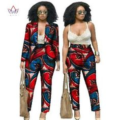 BRW 2017 Autumn African Print 2 Piece Set For Women Spring Dashiki Pant and Crop Top Bazin Riche African Clothing for Lady African Men Fashion, Africa Fashion, African Women, African Attire, African Wear, African Dress, African Style, Dashiki Fabric, Dashiki Dress