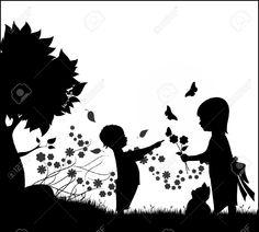 9340987-Illustration-silhouette-of-two-children-a-boy-and-a-girl-playing-with-flowers-butterflies-and-a-kitt-Stock-Vector.jpg (1300×1173)