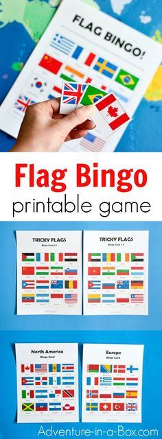 Flag Bingo is a printable educational game that challenges children to learn and identify the flags of the world. Fun supplement to teaching geography in preschool and K-6! #printablegame #games #printable #flags