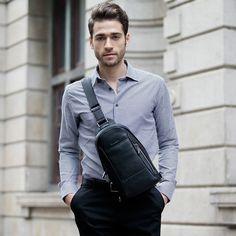 Amazon.com: Sammons® Genuine Leather Backpack Chest Pack Daypack Sling Bag Shoulder Bag 190165-01 (Black): Clothing