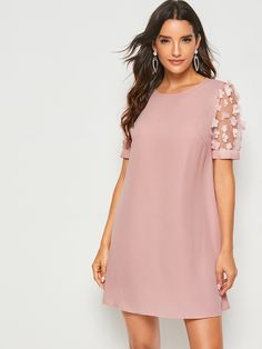 To find out about the Solid Applique Patch Mesh Sleeve Tunic Dress at SHEIN, part of our latest Dresses ready to shop online today! Elegant Dresses, Casual Dresses, Summer Dresses, Dress Outfits, Fashion Dresses, Tunic Dresses, Xl Fashion, Dress Skirt, Frack